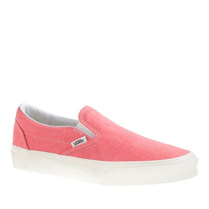 Vans® solid canvas classic slip-on shoes in washed hot coral - sneakers - Women's shoes - J.Crew