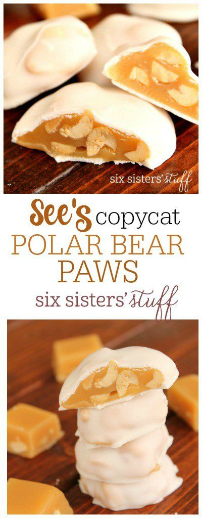 See's Copycat Polar Bear Paws on SixSistersStuff.com   Delicious caramel and peanuts coated with a vanilla chocolate coating. A delicious spring treat!