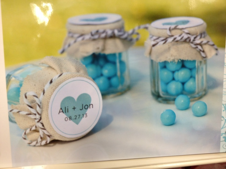 jars with burlap twine and sticker on top!