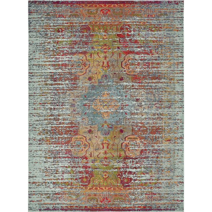 Unique Arte Blue/Orange Medallion Area Rug (9' x 12'), Size 9' x 12'