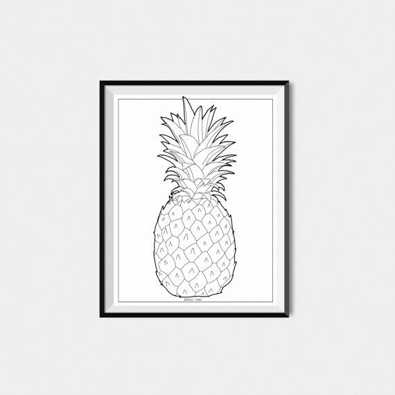 Pineapple Wall Art Black and White Pineapple by BAECKANN on Etsy