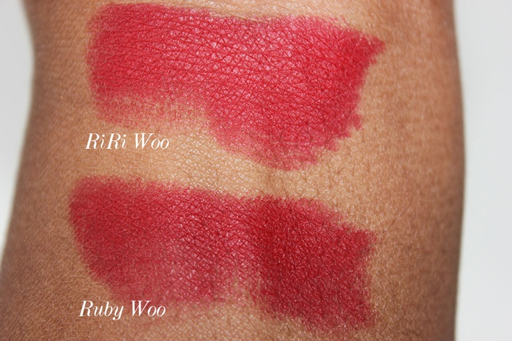 Spot the difference: mac-riri-woo-vs-ruby-woo-swatches-on ...