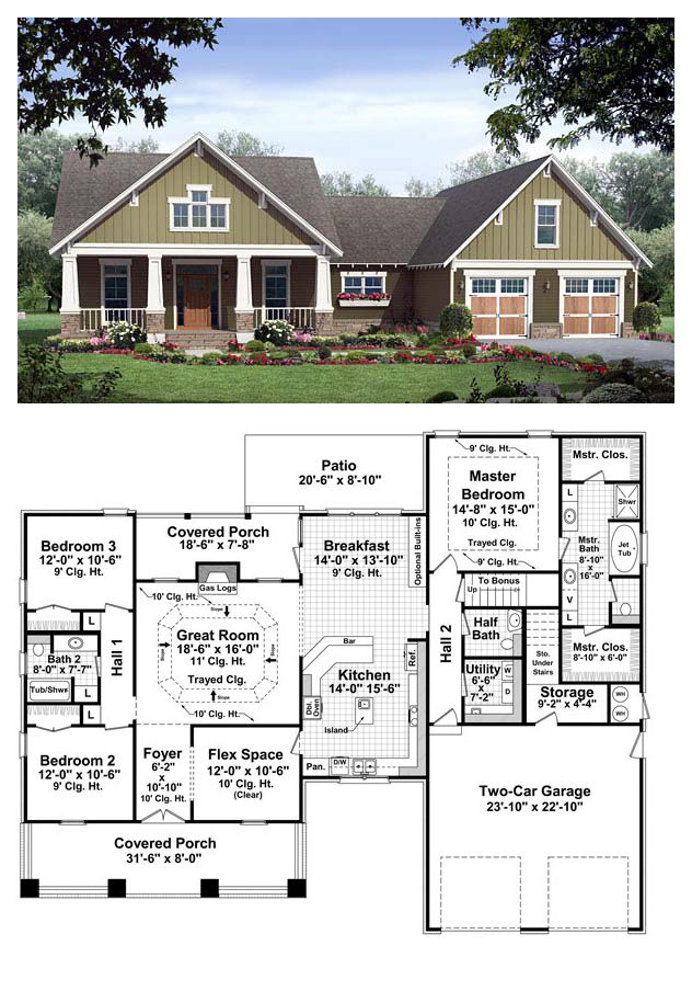 Bungalow Style COOL House Plan ID: chp-37255 | Total Living Area: 2067 sq. ft., 3 bedrooms & 2.5 bathrooms. The great room includes gas logs, a trayed ceiling and beautiful views to the covered rear porch beyond. The master bedroom also features trayed ceilings, and the master bathroom leaves nothing to be desired. #houseplans #bungalowstyle