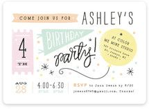 14 best birthday party invitation card images on pinterest a fun hand drawn styled invite in light hues with a pennant balloon and ticket making it very versatile for any kind of party stopboris Image collections