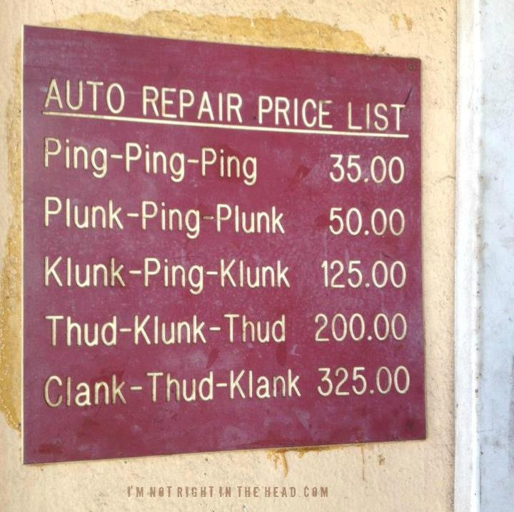 Auto repair price list for those who don't understand #cars too well.