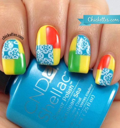 Color Blocking with Stamps Nail Art