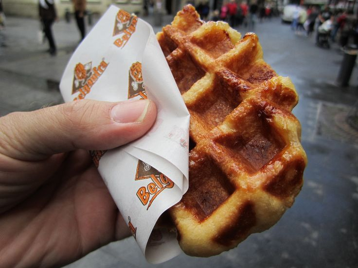 "13 Foods That'll Make You Want To Visit Belgium: ""Belgian waffles are nothing like what you find in North America. The most common waffle you can find in Belgium is called the Liege waffle. It's richer and denser than other waffles because it's made with buttery brioche dough and chunks of pearl sugar that caramelize on the crust when cooked."""