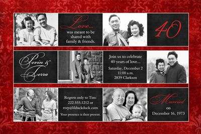 40th anniversary party ideas   Multi-Photo 40th Anniversary Invitation - Ruby Red Wedding Party
