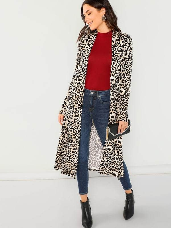 61ff475e4331 Long Sleeve Jersey Knit Leopard Duster Coat in 2019 | Leapord ...