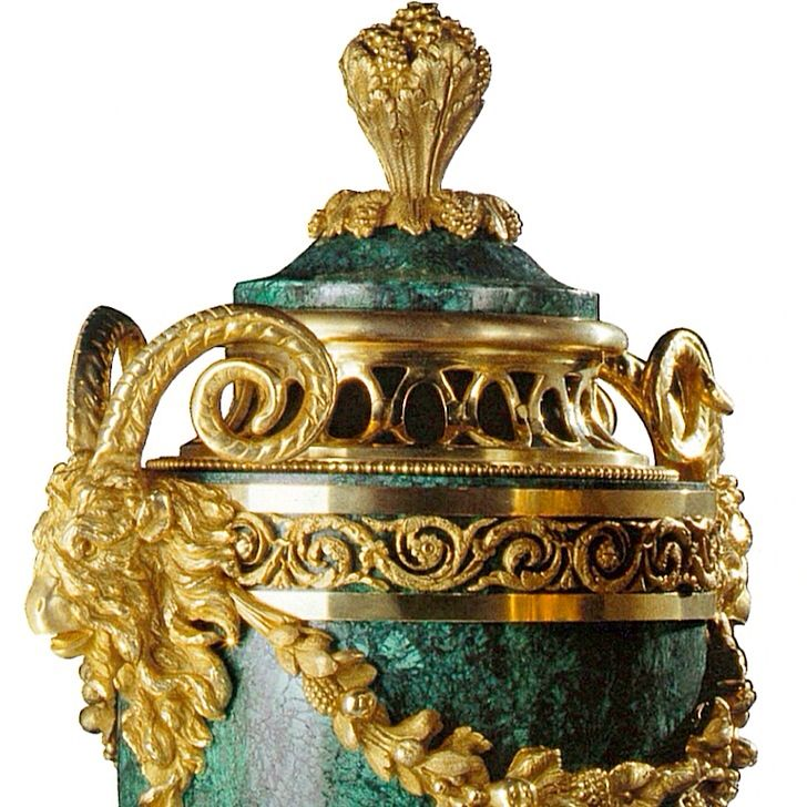 Detail of handmade gilt bronze and malachite urn b…