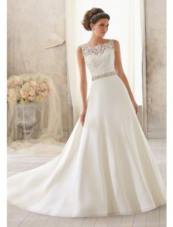Gorgeous Scoop Chiffon and Lace A Line Wedding Dress