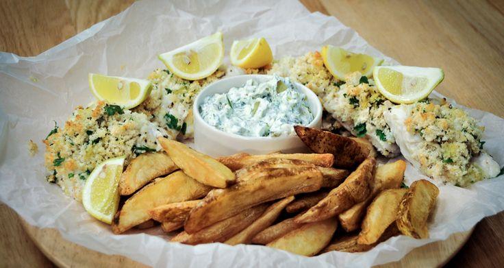 Τραγανό φιλέτο ψαριού με sauce tartar γιαουρτιού
