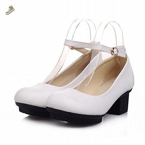 Charm Foot Womens Platform Block Heel Mary Jane Pumps Shoes (10, White) - Charm foot pumps for women (*Amazon Partner-Link)