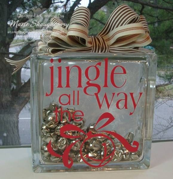 Jingle Bells Glass Block by Card Shark - Cards and Paper Crafts at Splitcoaststampers