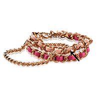 Zinzi Armband Rose Verguld Zacht Roze Koord Zia1095r