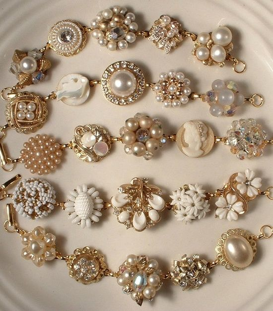 These would look beautiful with our dresses! Bracelets made from vintage earrings.