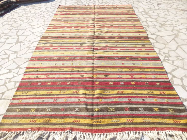 Amazing kilim rug with Colorful Stripes, 10,1 x 5,4 feet