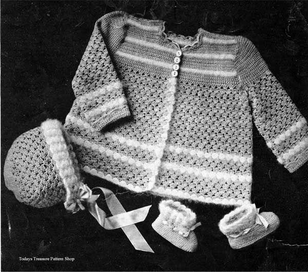 Pretty Vintage Baby Crocheted Layette Pattern, Shell Stitch