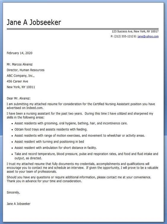 CNA Cover Letter Example: | Resume Examples Simple | Pinterest ...
