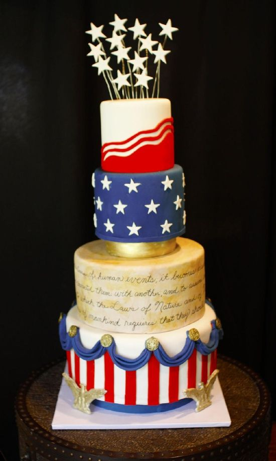 Fourth of July cake...i could make a layered cake like this (obviously a lot less detailed and not so perfect)