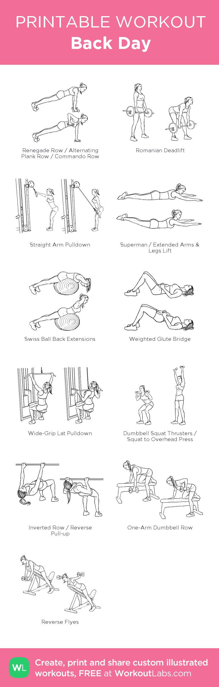 Back Day:my visual workout created at WorkoutLabs.com • Click through to customize and download as a FREE PDF! #customworkout