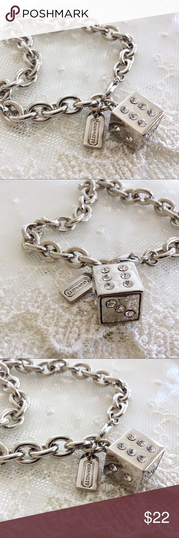 """Coach 3D Lucky Dice Charm Bracelet 🎀NOTE TO BUYERS... all my items are marked to lowest price. PLEASE DON'T MAKE OFFERS, MY PRICE IS FIRM. Thank you and have a Wonderful Day!🎀 100% Guaranteed Authentic Coach 3D Lucky Dice & Hangtag charms on CUSTOM 8"""" silver bracelet with lobster closure clasp. No box included. Brand New! I CAN ADJUST TO ANY SIZE NEEDED.... Top Rated ⭐️⭐️⭐️⭐️⭐️Seller! Follow me so you can be notified of new items listed! Take a peek at my other listings for more…"""