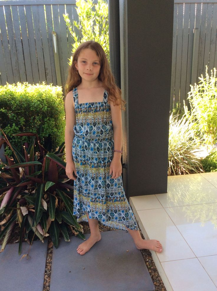 Tweens sundress with elasticised top and waist in blue and green print. by VSLFashions on Etsy