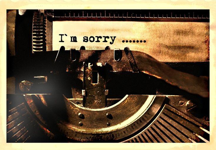 Írógép, Levelek, Bocsánat, Régi, Vintage, Elnézést