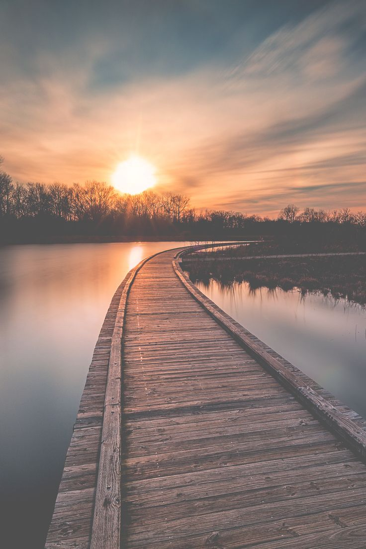 Sunset, sunrise, #sunset, #sunrise, wooden bridge, clouds, sunbeams, trees, water, reflections, beauty of Nature, peaceful, silence, stunning scenery