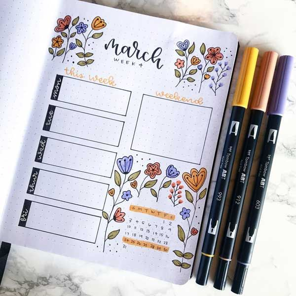 Pretty floral Bullet Journal spread for the last week of March.