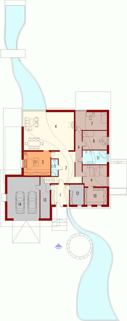 DOM.PL™ - Projekt domu AC River G2 CE - DOM AE8-46 - gotowy projekt domu