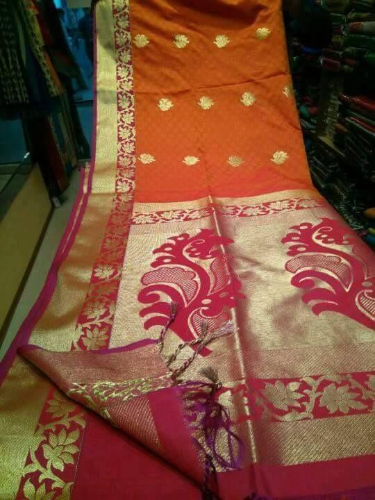 Traditional kanchipuram Orange And Pink Colour Silk Woven Saree #unbranded #Sareesari