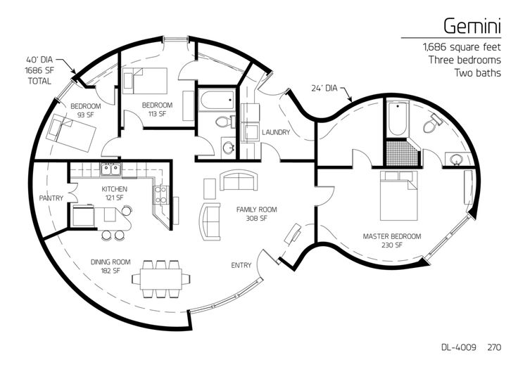 1 686 square feet three bedrooms two baths hobbit homes for Hobbit house drawings