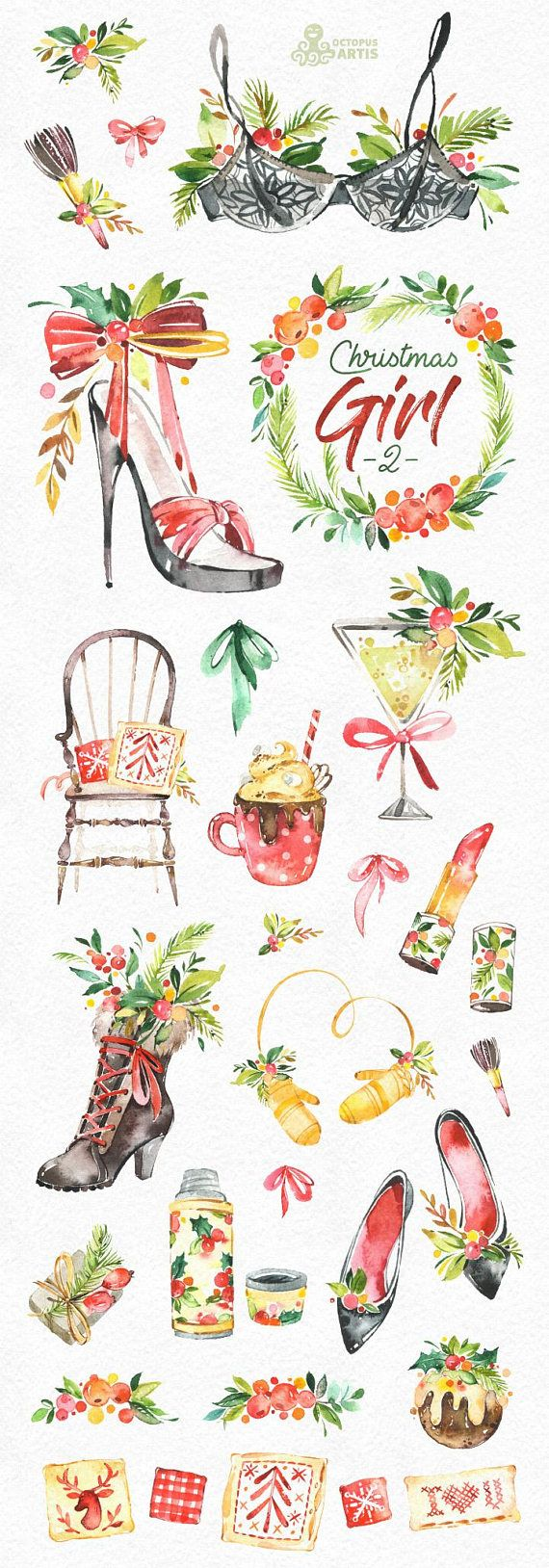 This Christmas Girl set of 35 high quality hand painted watercolor graphics. Perfect graphic for Christmas project, greeting cards, photos, posters, quotes and more.  -----------------------------------------------------------------  INSTANT DOWNLOAD Once payment is cleared, you can download your files directly from your Etsy account.  -----------------------------------------------------------------  This listing includes:  35 x Images in PNG with transparent background, different size…