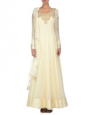 Ivory Anarkali Dress with Gota Work