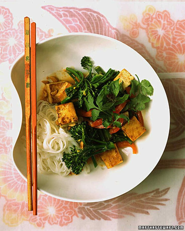 Basil, cilantro, mint, and peanuts give this tofu stir-fry a fresh, Thai-inspired flavor. Serve with rice noodles or jasmine rice.