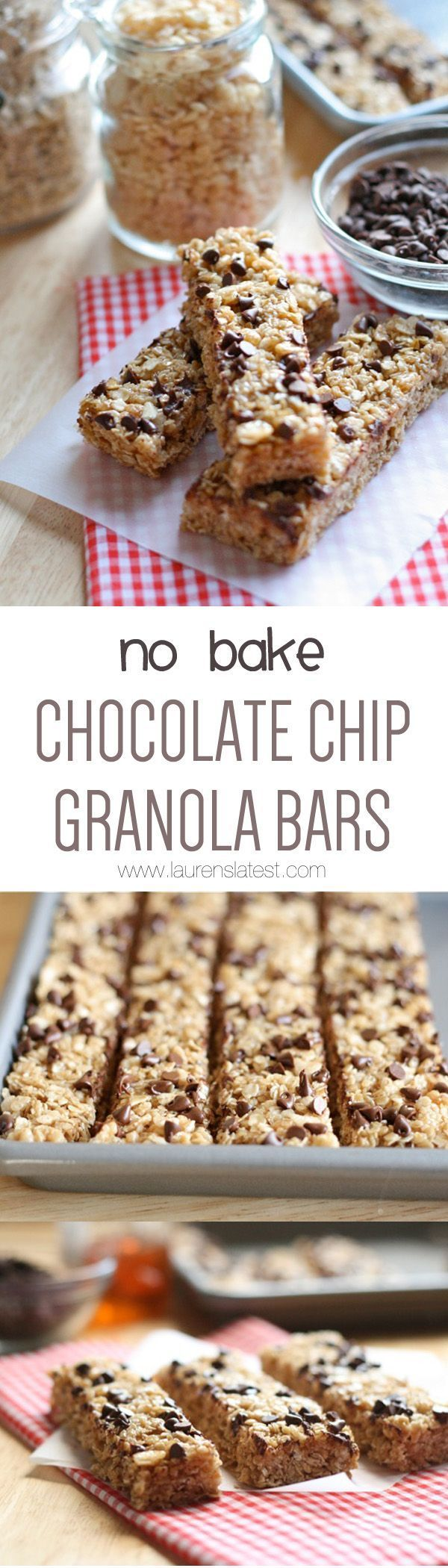 No Bake Chocolate Chip Granola Bars that are easy to make and healthy! Make a bunch of these and use them as a snack for school lunches!