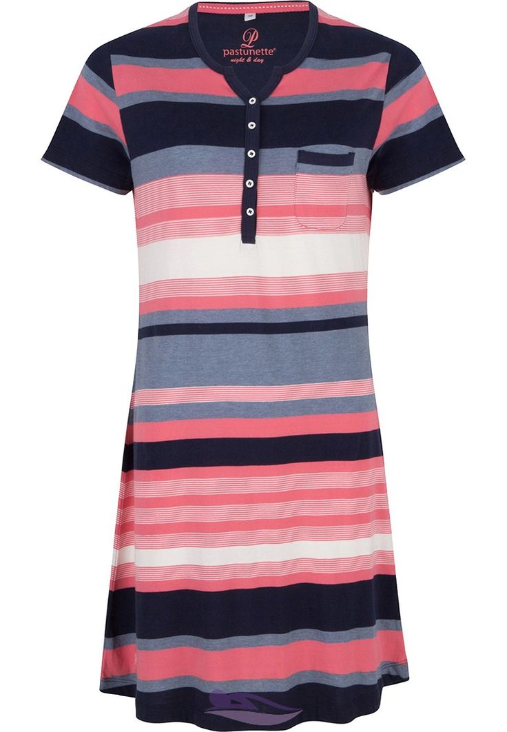 Pastunette cotton mix blue & orange stripey nightdress with buttons -http://www.pyjama-direct.nl/en/brands/pastunette