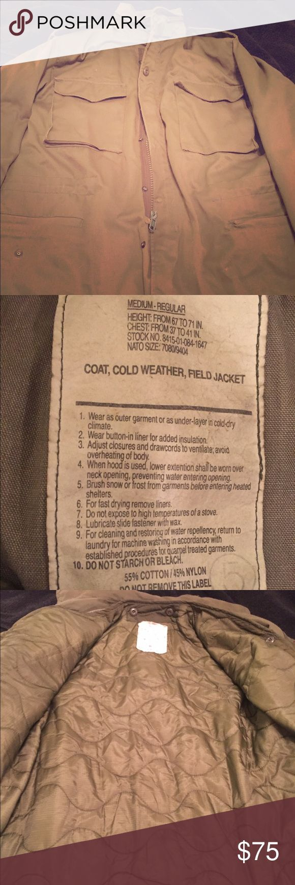 True Vintage M-65 US Military Field Jacket True Vintage US Military issue Cold Weather Field Jacket. Very good condition. No holes or wear. Lining is perfect. Excellent choice for upcoming winter!!! Jackets & Coats Military & Field