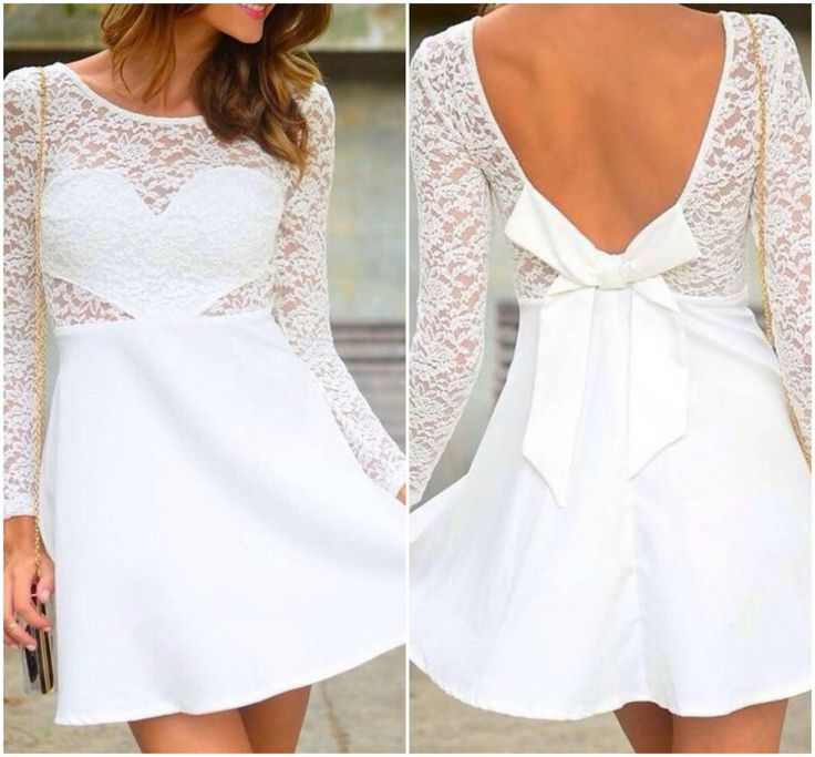 Long Sleeve White Lace Dress with Bow