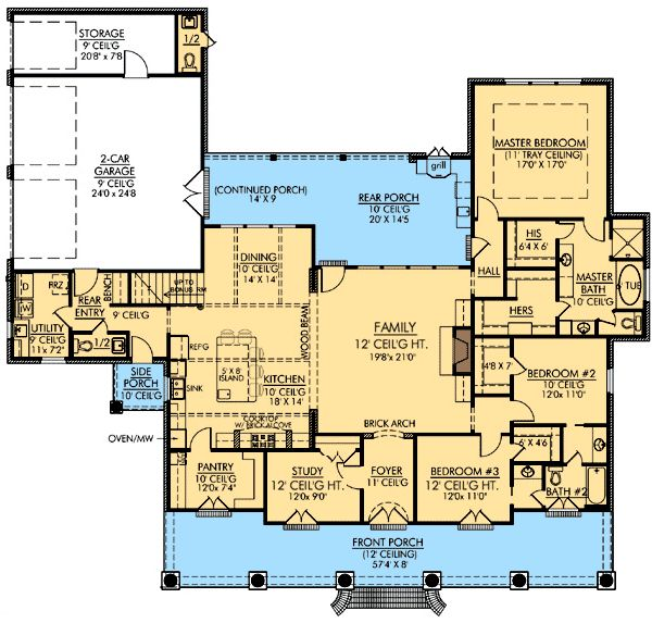 I love this plan!! Nice closet space and pantry. Open design and 12 ft ceilings I would add a wrap around porch though!