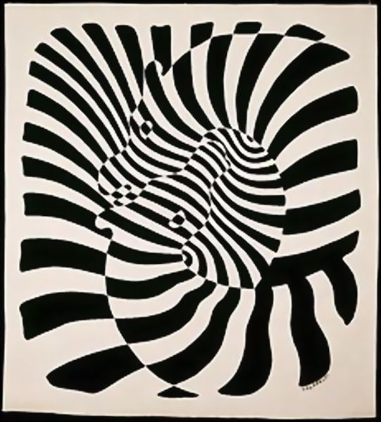 Hanging Entitled, Zebres, Oil by Victor Vasarely (1906-1997, Hungary)