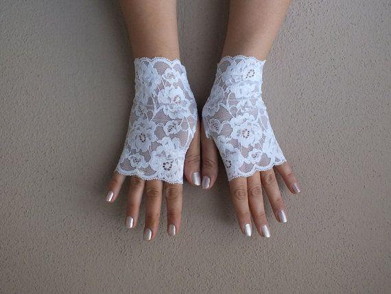 White lace gloves bride wedding bridesmaid prom by WEDDINGHome, $19.00