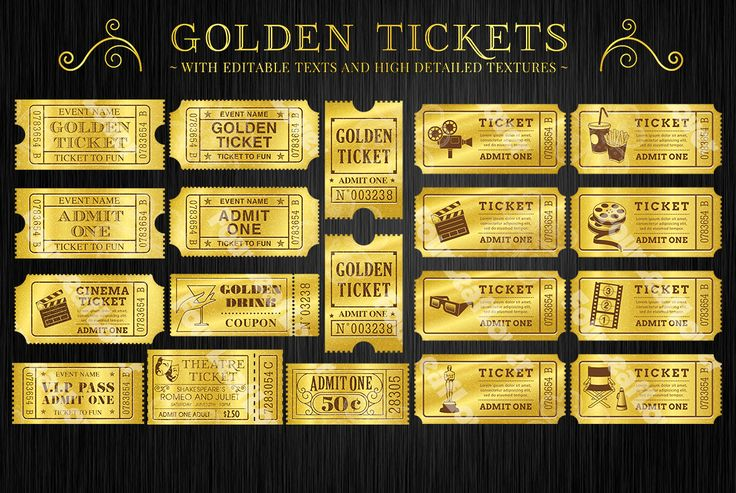 Golden Tickets Templates Set by FourLeafLover on Creative