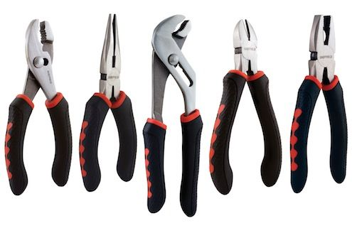 Tip of the Day: Pliers-- For electrical work, lineman's pliers have insulated handles and shallow serrations on the jaws to grip sheet metal, as well as a built-in wire cutter. For plumbing water-pump pliers are designed to grip pipes and angled for tight spots.  The double-lever action of locking pliers exerts a tremendous amount of force to clamp things together. Slip-joint pliers have an adjustable jaw width that allows a lot of versatility. Needlenose are best for precision work.