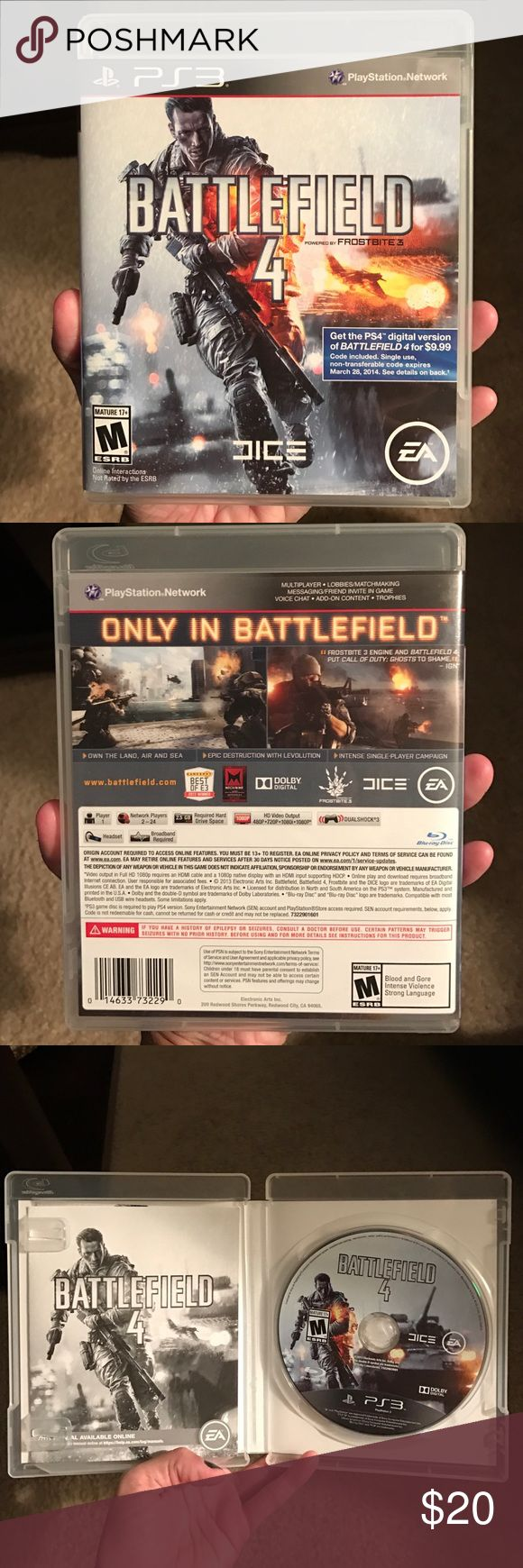 Battlefield 4 for PS3 This game is in great condition. My husband is just getting rid of his PlayStation 3 console & no longer needs this.  All the items are from a pet/smoke free home.  Absolutely no trades. Please don't ask! If you purchase more than likely it will ship out the same day or the following day. Other