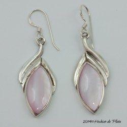 pendiente de plata con nacar rosa de hechizo de plata