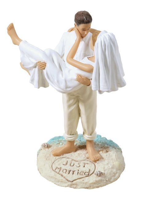 """Made of handpainted resin, this beach couple figurine measures 7"""" tall. The widest point is 5"""" and the base measures 3.75"""" wide. The groom lovingly carries his bride in the sand, which has been decora"""