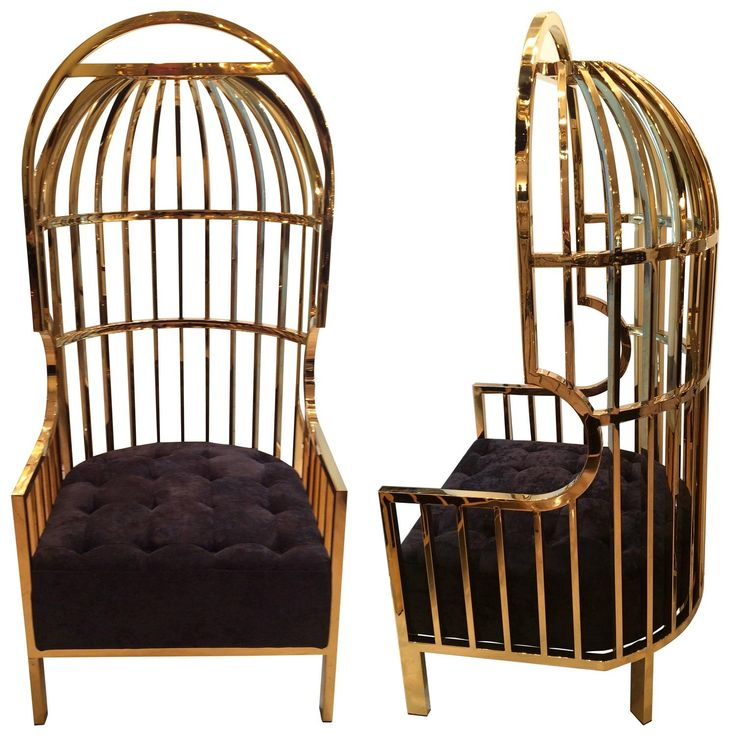 Pair Of Big Gold Cage Armchairs