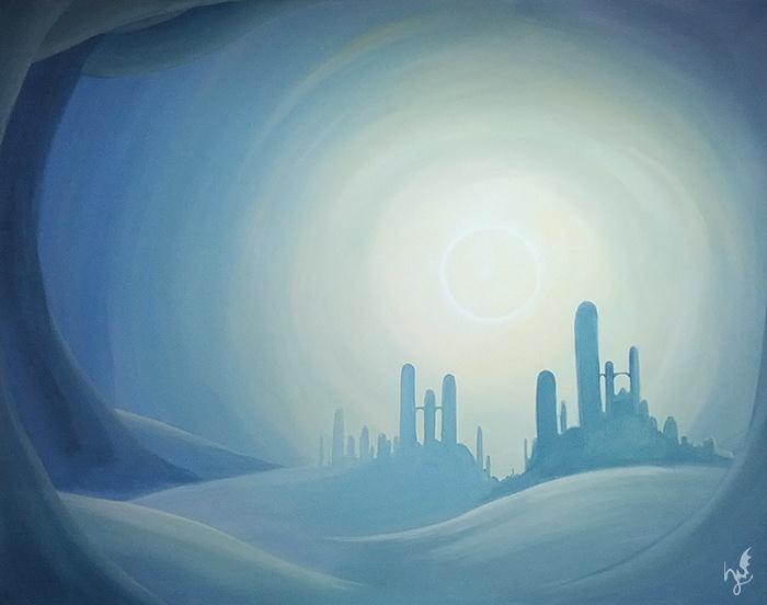 'Tranquillité' - Ein #Acryl Gemälde von Christina Busse www.christinabusse.de | #Leinwand | 50x60cm | Entstehungsjahr 2012 | #Endzeit #Stadt
